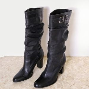 Matisse Black Leather Slouchy Knee High Heel Boots